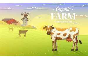 Rural landscape and cows. Farm Agriculture. Vector illustration. Poster with meadow, Countryside, retro village for info graphic, websites. Milk and dairy, Windmill and hay. Summer morning background.