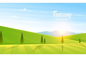 Rural landscape. Farm Agriculture. Vector illustration. Poster with meadow, Countryside, retro village for info graphic, websites. Windmill and hay. Summer morning background.