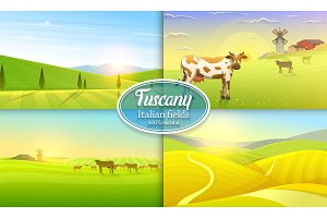 Rural landscape. Farm Agriculture. Vector illustration. Poster with meadow, Countryside, retro village for info graphic, websites. Windmill and hay. Summer morning background. Tuscany and dawn.