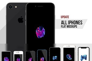 All iPhone Flat Vector MockUp