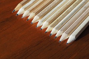 many wood pencils with copy space