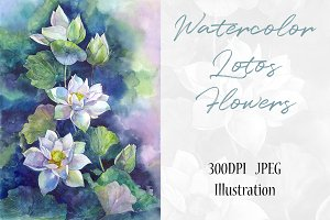 Watercolor Lotos Flowers Art