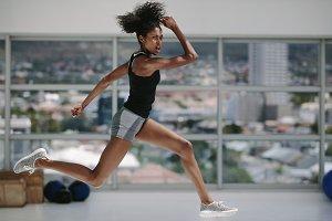 Female doing intense workout