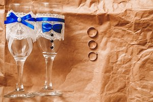 handmade. decor. decorated wine glasses for the wedding. glasses for two. newlyweds. three rings. Wedding, Wedding Cerimony