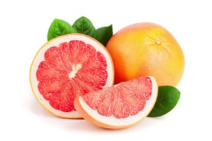 grapefruit and half with leaves isolated on white background