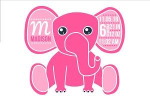 Birth stats elephant svg, baby girl