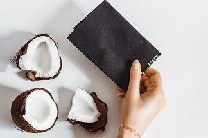 coconut cut. black empty template fo