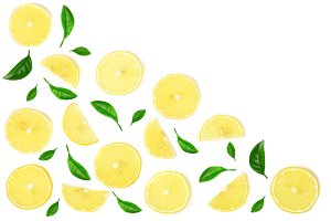 lemon decorated with leaves and slices isolated on white background with copy space for your text. Flat lay, top view