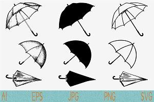 umbrella vector silhouette SVG PNG