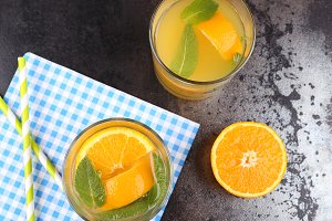 Orange drink with mint leaves