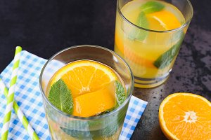 Orange lemonade with mint