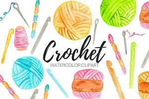 Watercolor Crochet Clipart
