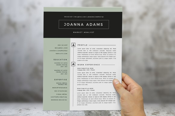2 in 1 modern Word resume template ~ Resume Templates ~ Creative Market
