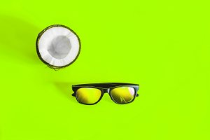 coconut. cut coconut. Sunglasses. sq