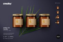 Amber Jar Candle Mockup Set by Creatsy 5 in Product Mockups