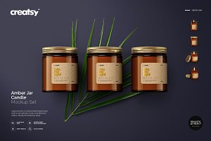 Amber Jar Candle Mockup Set