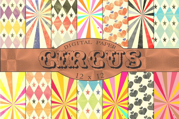 Vintage circus patterns, papers
