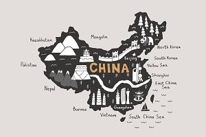 China map, tourist map svg
