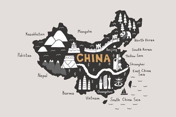 China Map Tourist Map Svg