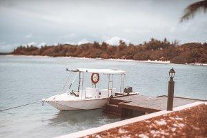 Moored speedboat, tilt-shift