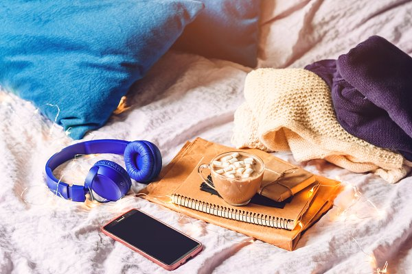 home cosiness. work at home in bed…