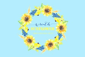 Sunflower wreath watercolor clipart
