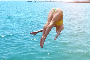 the girl dives beautifully under the