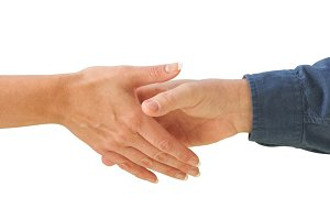 Man and Woman Shaking Hands Isolated