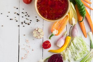 Traditional vegetable borscht