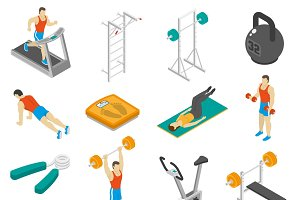 Fitness isometric icons set