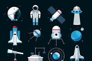Spacecrafts equipment icons set