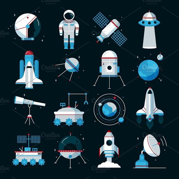 Spacecrafts Equipment Icons Set