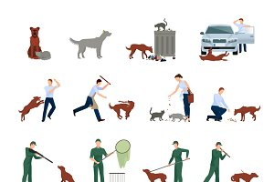 Stray animals icons set