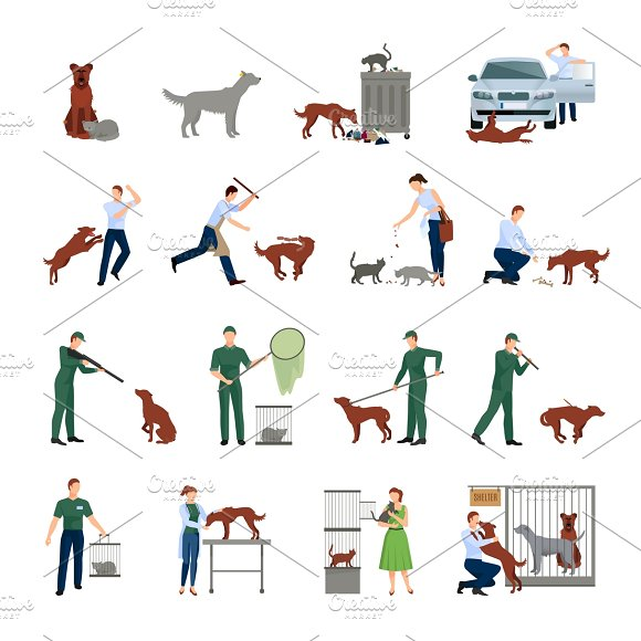 Stray Animals Icons Set