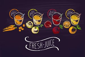Chalk drawn of different juices.