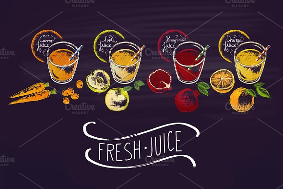 Chalk Drawn Of Different Juices
