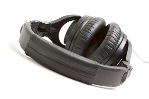 Pair of Black Headphones Isolated