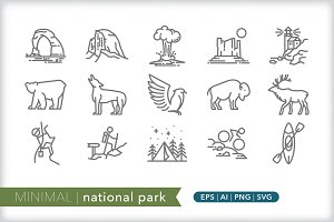 Minimal national park icons