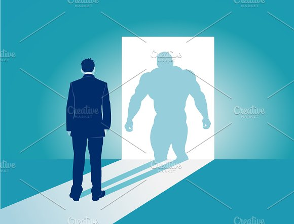 Businessman And His Muscular Shadow