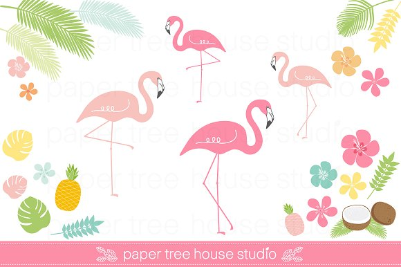Tropical Flamingo Clip Art