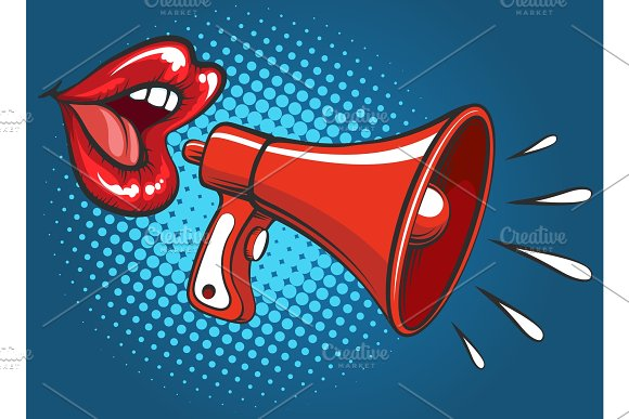 Popart Girl Mouth Screaming In Megaphone