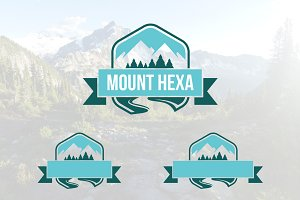 Mountain Forest Hexagon Logo
