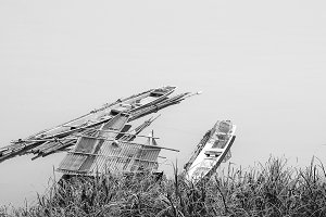 Old boat and old raft