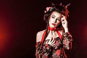 Geisha with hair and makeup.