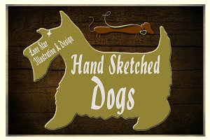 Hand Sketched Vector Dogs & Leashes
