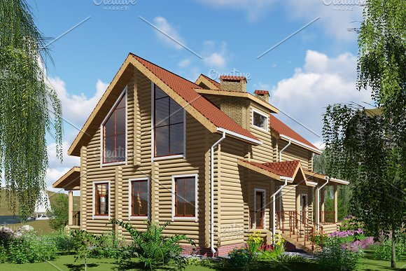 3D Visualization A Wooden House
