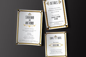 Art Deco Wedding Invitation Set