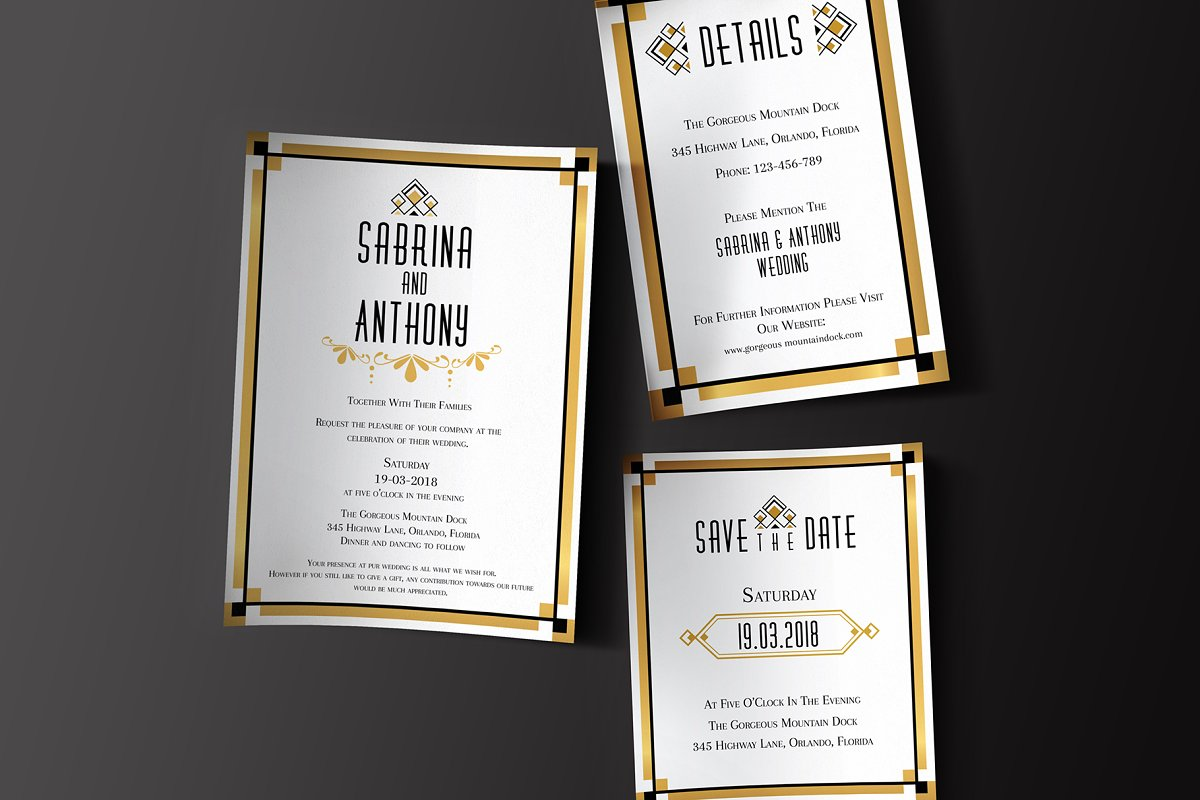 Art Deco Wedding Invitation Set Wedding Templates