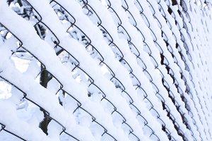 Iron fence in the snow. Lattice