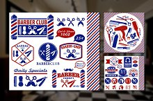 Set Of Vintage Barber Shop Badges
